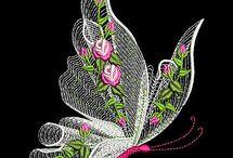 Vysivky motýl orchidej maceska