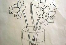 Narsissi piirtäminen + märkää märälle