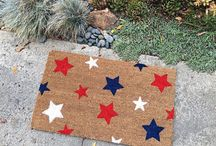 Front Porch Decor / Cute front porch decor including our clever doormats! All of our custom doormats can be found here too!