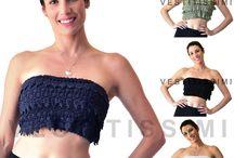 Top donna corto toppino elastico bandeau maglia fascia pizzo ruches sexy MT7
