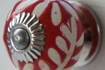 Red Stencil Range / Beautiful Range of red cupboard doorknobs designed by These Please