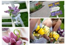 Red Barn at Outlook Farm Wedding / Lilac flowers, yellow flowers, Outlook Farm details shots