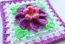 Granny squares with different flowers