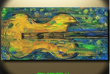 ADW Guitar Paintings / 48x24x1 Heavily textured Original Palette Knife painting by Angela Williams ADW Original / by Angela Williams