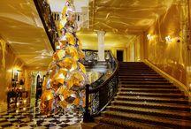 Claridge's Hotel, London #claridgeshotel / Incredible Umbrella Christmas Tree in the Lobby at Claridge's Hotel, London, #claridgeshotel