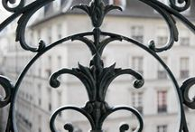 Iron Work / Balconies, gates, grilles, stair railings, and elsewhere incorporate floral and foliate designs, human and animal figures, musical motifs, heraldic crests, mythological figures, geometrics, and much more. / by Nathalie Leseine