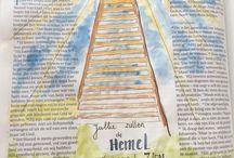 Biblejournaling / Alle bijbeljournaling art in mijn eigen bijschrijfbijbel getekend en/of geschreven