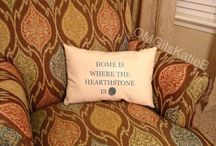 """""""Home is where the hearthstone is."""" / Handmade nerdy World of Warcraft reference pillow. / by Katie Belcher"""
