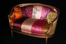 Tapissier decorateur / Canapé Louis XVI rénové avec une soie de chez Designer Guild  Méthode traditionnel 6300 €