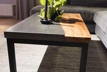 unieke tafels beton, hout, boomstam / salontafels, eettafels, exclusieve tafels