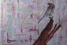 pintura tecnica mixta / probando a mezclar materiales y diferentes tipos de pinturas