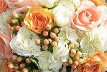 Peach and coral wedding flowers / Peach and coral wedding ideas. Beautiful peach and coral wedding bouquets, table centrepieces, decorations and wedding cakes.
