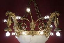 Rarität Kronleuchter antik, sehr groß mit Alabasterschale!