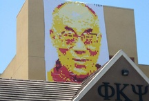 San Diego: Dalai Lama Portrait (2012) / A portrait of his holiness the 14th Dalai Lama with post-it notes by the @post it art creators   post-its on paper, 5 colors  http://www.postitartcreators.com / by Post it ART CREATORS