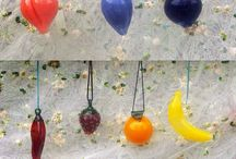 Hand Blown Glass Ornaments / Featuring mini fruit glass bauble ornaments, including other OOAK ornaments