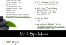 Spa Menus for treatments