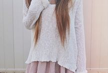 Skirt and oversized sweater