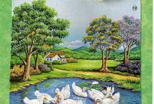 pintura em tecido paisagem