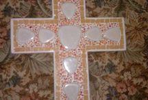 Σταυροί (crosses) / Χειροποίητοι σταυροί με ψηφίδες (021Χ0,20Χ0,01 cm).