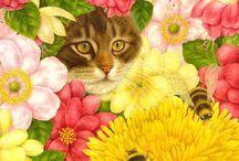 Chats peintures et dessins