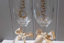 Wedding Champagne Toast Glasses / Decorated glasses for Hen Nights, Weddings, Celebrations  and Champagne Toasts