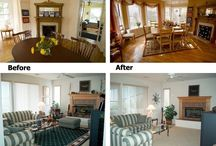 """Before and After / As sampling of """"clean lines"""" and simple decluttering - busy area rug removed, along with some other items...."""