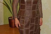 Вязание с кожей и тканью