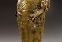Glass and Metalwork Vases / Loetz, Lalique, Daum, Galle, et al