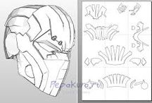 Helmet template / Tutorial, template & making helmet from cardboard or foam