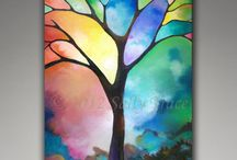 My Tree Paintings / Some of my original abstract paintings of trees and landscapes / by Sally Trace