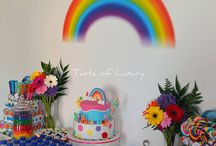 rainbow theme bday party decor