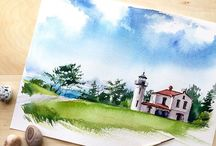 Watercolour / Paintings, illustrations etc to
