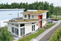 Modern ecologische villa / Marc en Madeleine wilden een moderne en ecologische vrijstaande woning zonder dat hout de uitstraling domineerde. Dit woonhuis in Almere met strakke daklijnen en scherpe kleurcontrasten is het resultaat.