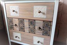 Мои работы / Авторское декорирование мебели из дерева