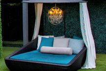Outdoor Sunbeds Custom Designed / King size outdoor sunbeds with canopies, designer outdoor fabrics, chandeliers and draperies