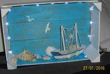 """Nautical  """"Meine maritime Dekoration"""" / Maritimer Dekokasten, Leinwandbilder, Dosen Tolle Dekoration im Bad oder als Mitbringsel. Ein Hauch von Urlaub zieht ein."""