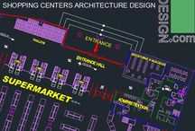 Shopping malls architecture design / Shopping mall design projects with plans, facades and sections drawings from all of the projects. collection are architectural plans, elevations and sections of 5 different shopping mall projects. Movie theaters, supermarkets, restaurants and different shops are some spaces of this architectural design projects.