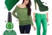Green with envy! / Your favorite green outfits with a marching green nail polish!