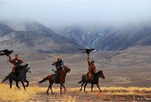 Men's games - Hunting with birds of prey - Kazakh national sport. Festival berkutchi