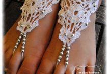 Paire de Bijoux de Pied perlée ou non au crochet avec coton mercerisét