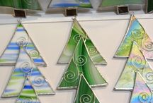 Stained glass tree ornaments / Christmas trees