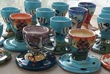 Egg cups / hand thrown and hand painted egg cups