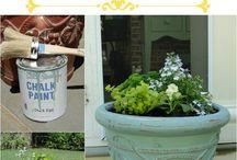 chalk paint garden pots