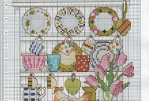 Kitchen cross stitch / Cuisine au point de croix