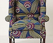 Wing chairs / Fancifully colored and shaped wing chairs