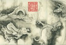 "The scroll of the nine dragons 陳容 Chén Róng / My study of ""The scroll of the nine dragons"" by 陈容 (traditional Chinese 陳容) Chén Róng (1210 – 1261) A Carnet of study painted on a Japanese Ablum by Moleskine, consacrated to the masterpiece of 陈容 Chén Róng (1210 – 1261) has to be considered as one of the most most important sample of Chinese scroll-painting and one of the masterpiece of Chinese art."