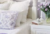 White and lilac bedrooms