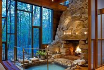 Log cabin interiors that make me happy / Inspiration for what I might want in the dream house and the little cabin