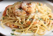 Linguines crevettes, vin blanc et parmesan