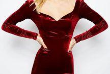 long red velvet dress